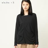 a la sha+a 造型抓褶拼接蕾絲上衣