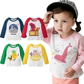 Augelute 兒童上衣 長袖T恤 獨家設計款 純棉撞色插肩長袖自印款 66332