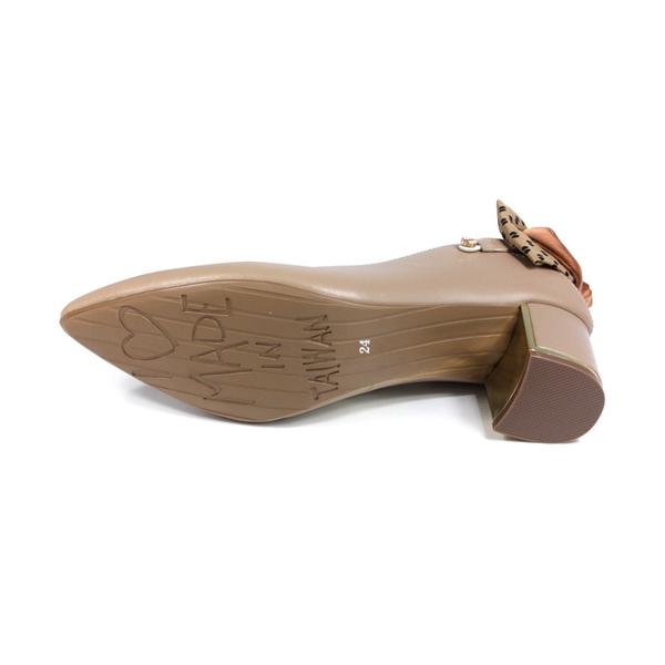 HUMAN PEACE 尖頭跟鞋 粗跟 卡其色 蝴蝶結 女鞋 96504 no366