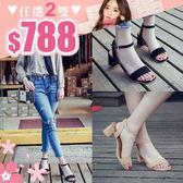 任選2雙788涼鞋韓版簡約熟女風素色一字帶粗跟中跟涼鞋【02S9120】