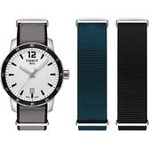 TISSOT 天梭 QUICKSTER NATO 活力運動手錶-銀/40mm T0954101703700
