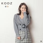 東京著衣【KODZ】高雅時髦V領開襟排釦腰帶針織毛衣(191317)【現+預】