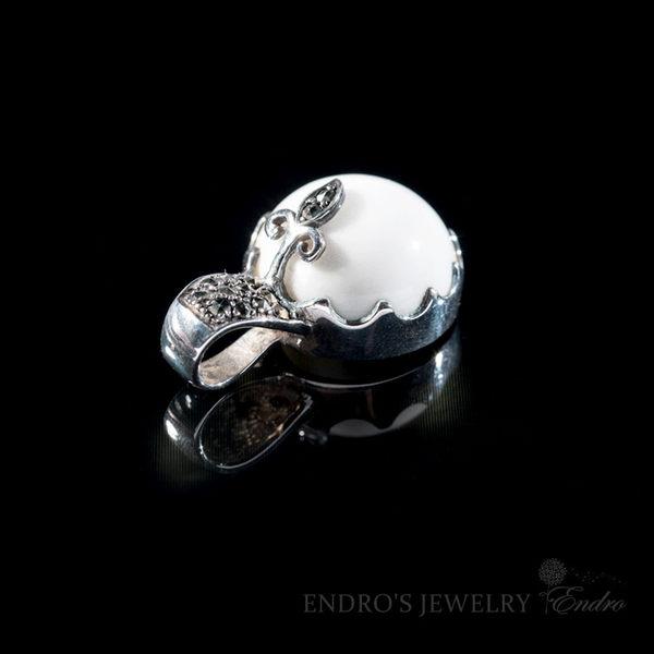 【Endro手作輕珠寶】  幸福白瑪瑙吊墬  925純銀