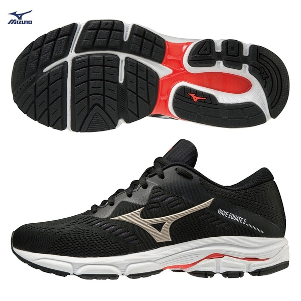 MIZUNO WAVE EQUATE 5 女鞋 慢跑 路跑 耐磨 支撐 黑【運動世界】J1GD214842