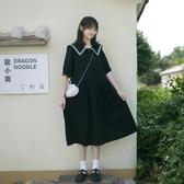 洋裝夏季新款學院風海軍領短袖連身裙女學生韓版寬松顯瘦收腰A字長裙高盛
