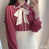 新款韓版甜美刺繡花邊娃娃領蝴蝶結襯衫女上衣設計感小眾 可然精品