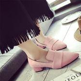 春季女單鞋春秋新款尖頭深口高韓版潮學生百搭粗跟中跟女鞋 時尚潮流