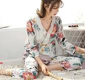 春秋天綿綢睡衣女士長袖薄款純棉綢套裝韓版人造棉寬鬆家居服大碼 范思蓮恩