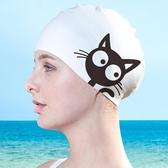 游泳帽泳帽硅膠女防水大號可愛時尚貓長發護耳成人男兒童女童【免運】