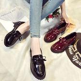 英倫風女鞋秋冬新款粗跟單鞋平底百搭休閒套腳學生加絨小皮鞋