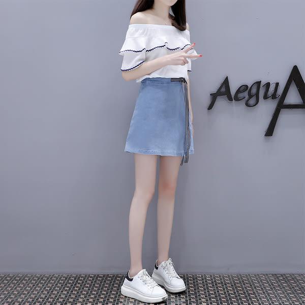 【GZ52】新款禦姐洋氣夏季牛仔小香風套裝裙子俏皮兩件套夏裝