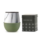 HYDY 時尚蛋型杯 橄欖綠-大理石 240ml +山山來茶鐵盒組