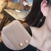 8折/歐美氣質羅馬數字黑圓圈吊墜耳線防過敏鋼飾品簡約小清新耳掛耳環 聖誕節交換禮物