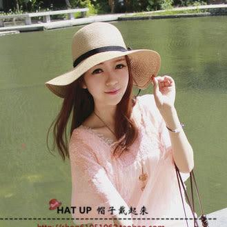 帽子女夏季新款海灘遮陽帽可折疊沙灘出游度假草帽韓版大沿帽