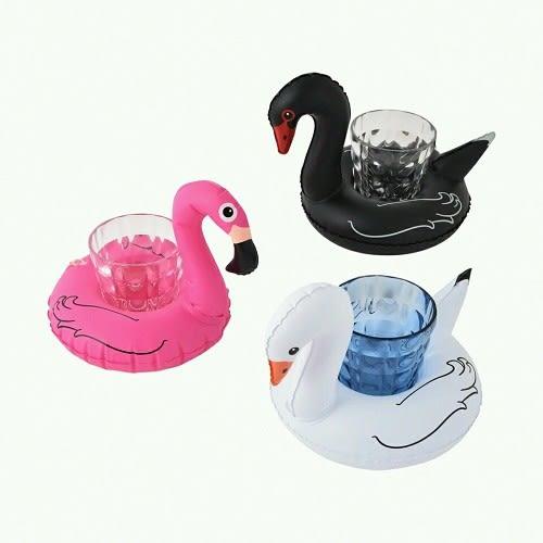 梨卡★現貨 - 黑天鵝白天鵝充氣造型特色飲料杯可放零食手機座游泳圈M095