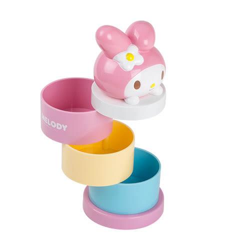 《Sanrio》美樂蒂可愛趴趴桌上型三層旋轉收納盒★funbox生活用品★_RD00501