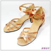 節奏皮件~國標舞鞋拉丁鞋款編號6561 緞面舞鞋新膚色