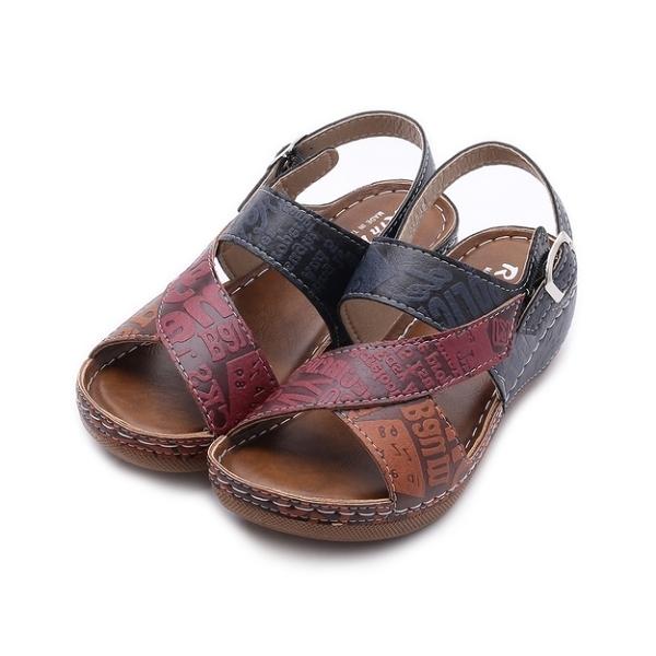 RIN RIN 印字休閒楔形涼鞋 藍 女鞋