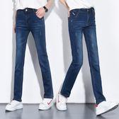 高腰直筒單寧牛仔褲女長褲大碼寬鬆顯瘦闊腿褲胖mm彈力小直筒褲