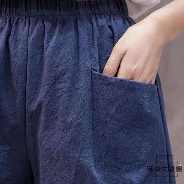 大碼短褲女夏寬鬆韓版運動高腰休閒褲純棉熱褲五分褲【時尚大衣櫥】