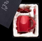 1件免運女杯子陶瓷辦公室大容量家用水杯聖誕情侶牛奶咖啡杯馬克杯帶蓋勺