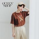 Queen Shop【01038297】趣味衝浪印花短袖棉T 兩色售*現+預*