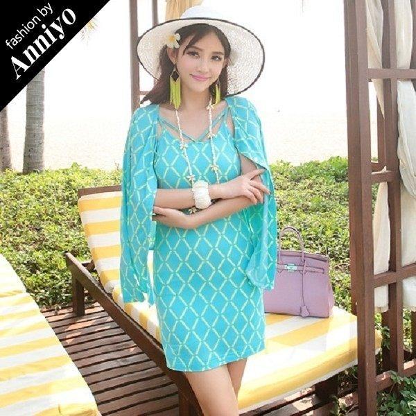 Anniyo安妞‧牛奶絲細肩帶內搭背心裙+長袖外套兩件套裙裝套裝 藍色