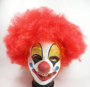 化妝舞會用品 紅色爆炸頭假發+小醜面具