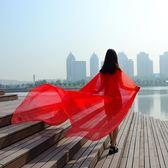 純色大紅圍巾薄款夏超大沙灘防曬披肩雪紡絲巾女春秋紗巾百搭長款  范思蓮恩