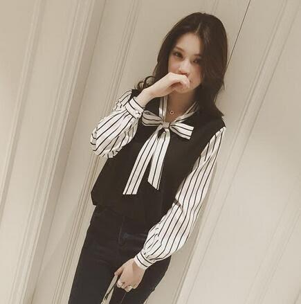【PU11】長袖襯衫 韓版V領假兩件雪紡拼接打底襯衫 蝴蝶結系帶絨上衣 S~白色
