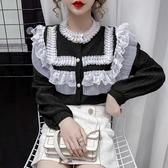 現貨寄出 蕾絲拼接長袖襯衫女秋裝新款甜美洋氣減齡荷葉邊寬松上衣襯衣
