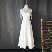 巴厘島沙灘裙旅拍V領吊帶長款顯瘦蝴蝶結白色洋裝洋裝度假長裙 幸福第一站