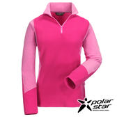 PolarStar 女彈性立領保暖上衣『桃紅』戶外│登山│露營│機能衣│刷毛衣│快乾透氣 P16252