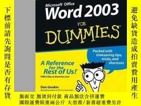 二手書博民逛書店Word罕見2003 For DummiesY410016 Dan Gookin ISBN:97811180