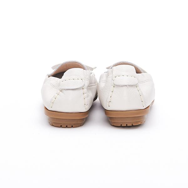 MICHELLE PARK 輕時尚舒適蝴蝶結彈力牛皮休閒平底鞋-米白