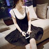 *初心*今夏主角韓版顯瘦吊帶裙 連衣裙 兩件式短袖棉T恤上衣 背帶裙 D16063JA