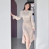 歐媛韓版 兩件式洋裝 輕熟風御姐OL套裝裙 冬款高領蕾絲薄紗袖上衣側鏤空魚尾半身裙