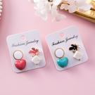 愛心花朵大理石方塊耳環 耳針 耳飾 H33109