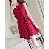 無袖綁帶雪紡高腰韓版洋裝女2020夏季新款不規則氣質連衣短裙 【韓語空間】