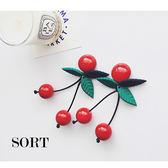 耳環 清新甜美可口紅櫻桃綠葉造型垂墜式耳環 【1DDE0579】