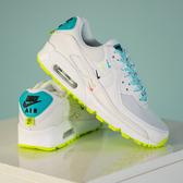 R-NIKE Wmns Air Max 90 Worldwide 白藍 螢光綠 女鞋 氣墊 運動鞋 休閒鞋 舒適 增高 小勾勾CK7069-100