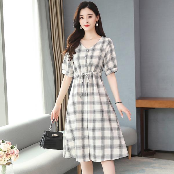 森女系法式長裙復古格子連身裙洋裝(黑白格S~XL)*ORead*