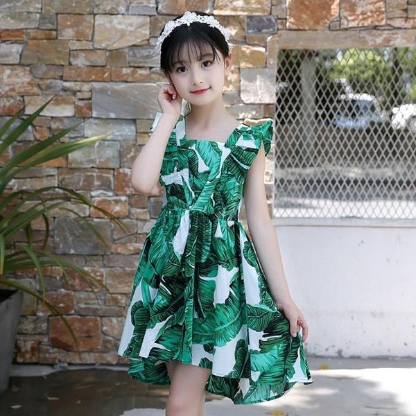 女童洋裝2021新款夏裝中大童洋氣棉背心裙淑女公主裙子燕尾裙潮