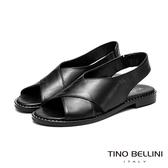 Tino Bellini中性簡單大交叉平底涼鞋_黑 VI9061 歐洲進口