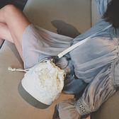 包包  斜挎包 水桶包 斜跨單肩小包蕾絲包ins休閒百搭包女挎包側背包 黑白可選  蘇荷精品女裝