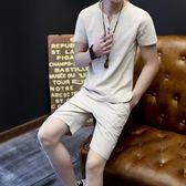 夏季男士睡衣套裝棉麻料夏天薄款純棉休閒居家服仿亞麻布短袖短褲