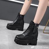 內增高馬丁靴女秋冬新款百搭小個子厚底帥氣英倫風顯瘦小短靴