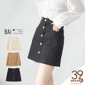褲裙 純色斜口雙袋排釦拉鍊短裙S-L號-BAi白媽媽【190594】