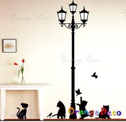 壁貼【橘果設計】小貓嬉戲 DIY組合壁貼/牆貼/壁紙/客廳臥室浴室幼稚園室內設計裝潢