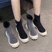 襪靴 靴子女2019秋款短靴女春秋單靴彈力襪靴瘦瘦靴秋季厚底高筒鞋 免運費